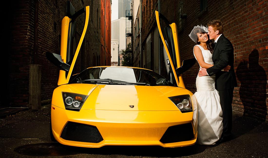 bride with lambo